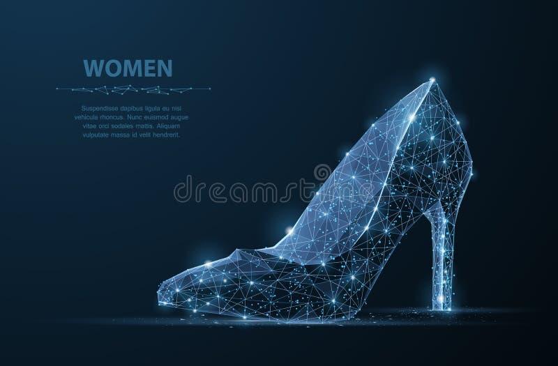 Odosobniony wektorowy kobieta but Elegancja, splendor, piękno symbol royalty ilustracja