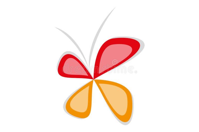Odosobniony wektorowy motyl w czerwieni, szarość i pomarańcze kolorach, royalty ilustracja
