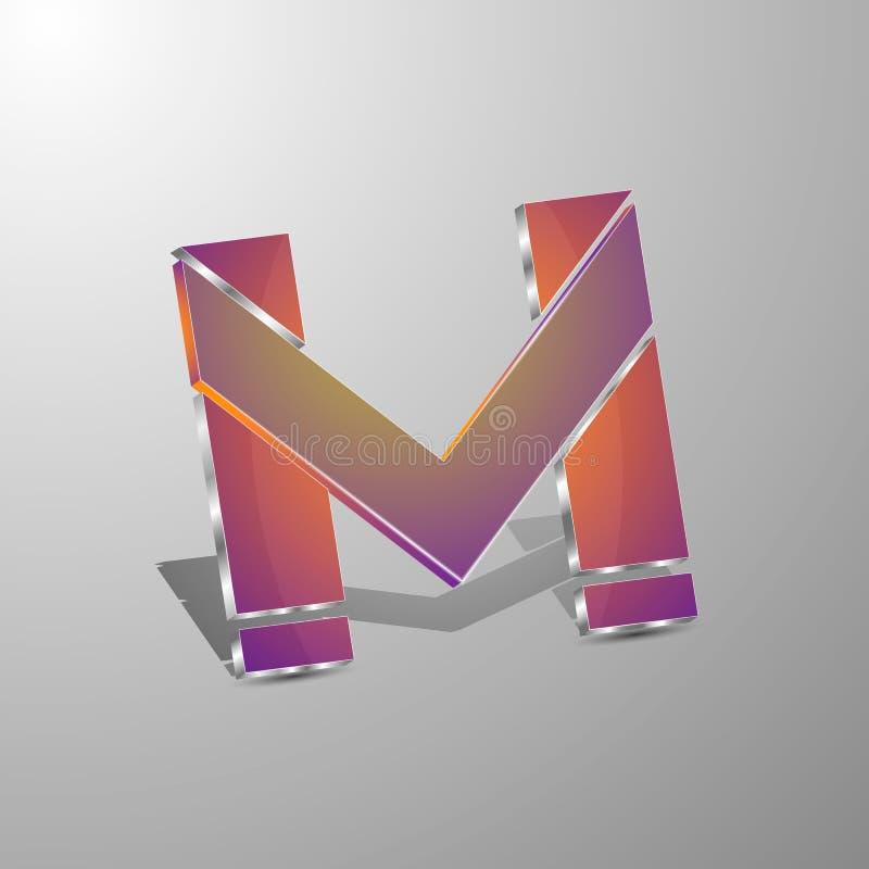 Odosobniony wektoru 3d logo pisze list m Pojęcia design ilustracji