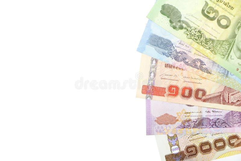 Odosobniony wielo- kolor Tajlandzki banknotu rozkaz wartością banknot na białym tle fotografia stock