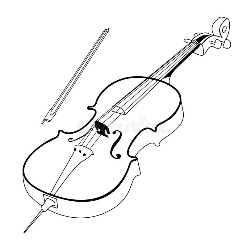 Odosobniony wiolonczelowy kontur ilustracji