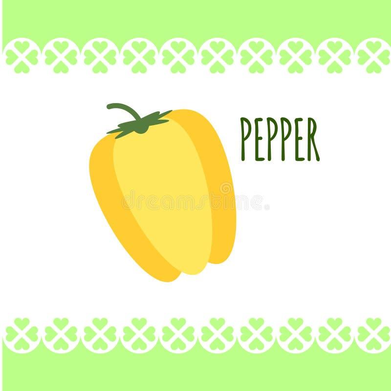 Odosobniony wizerunek żółty świeży pieprz na białym tle w mieszkanie stylu Dla diet, kulinarny śniadanie, sałatki royalty ilustracja
