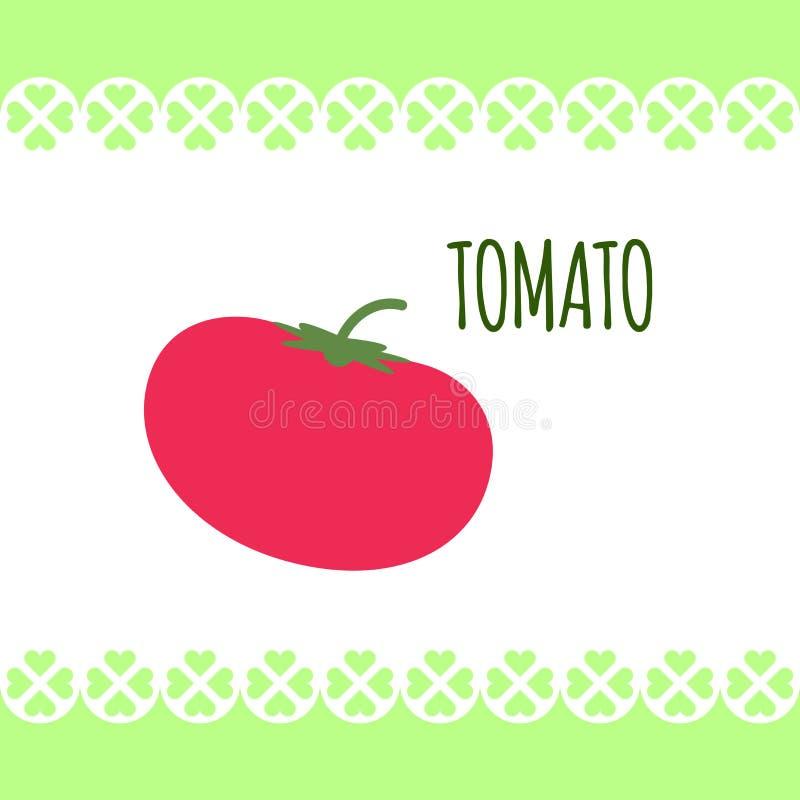 Odosobniony wizerunek czerwony świeży pomidor na białym tle w mieszkanie stylu Dla diet, kulinarny śniadanie, sałatki ilustracja wektor