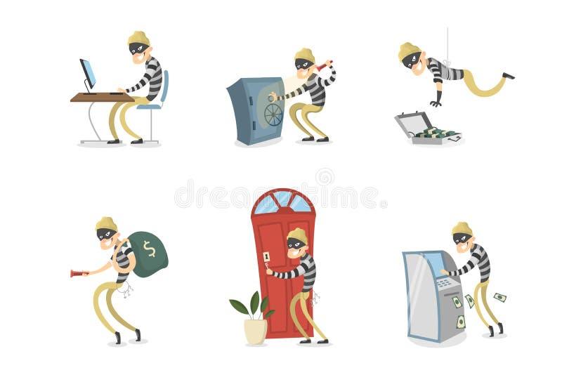 Odosobniony złodzieja set ilustracji