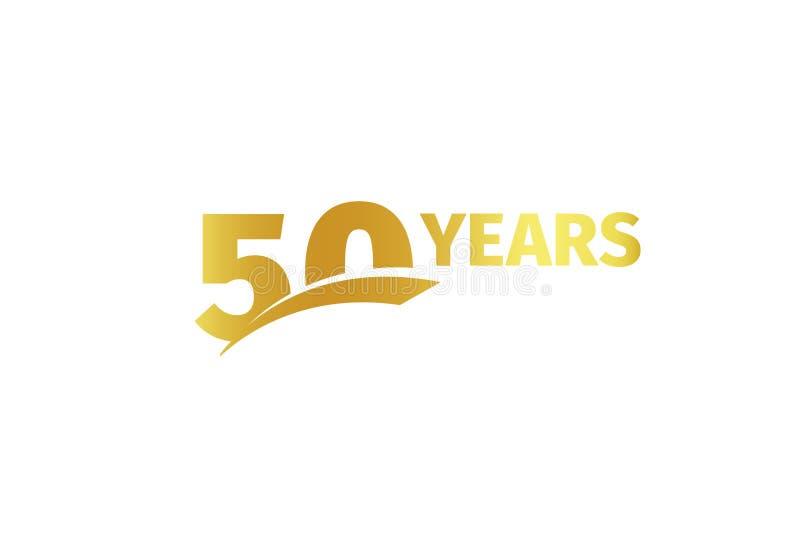 Odosobniony złoty kolor liczba 50 z słowo rok ikoną na białym tle, urodzinowy rocznicowy kartka z pozdrowieniami element ilustracja wektor
