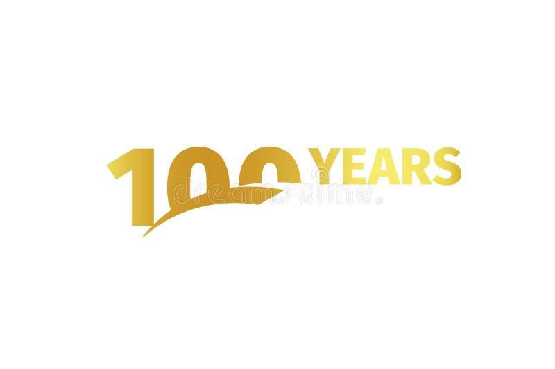 Odosobniony złoty kolor liczba 100 z słowo rok ikoną na białym tle, urodzinowy rocznicowy kartka z pozdrowieniami element royalty ilustracja