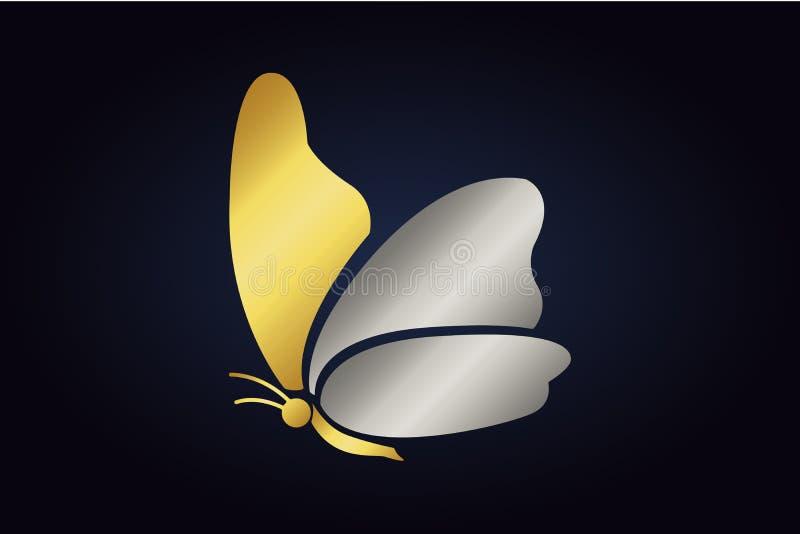 Odosobniony złoty motyl z złotymi i srebnymi skrzydłami ilustracji