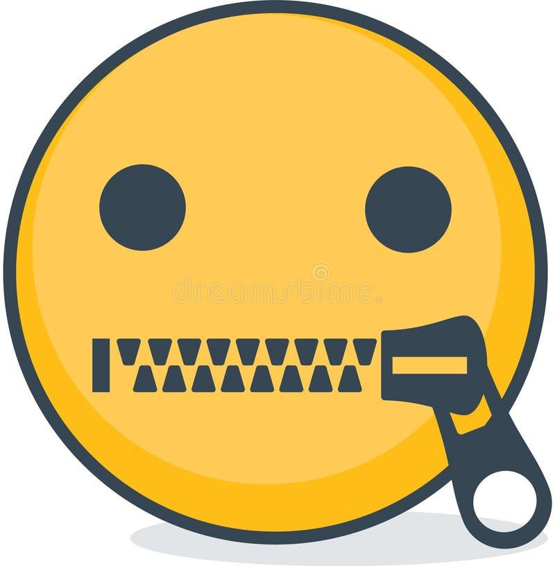 Odosobniony zapinający usta emoticon Odosobniony emoticon ilustracji