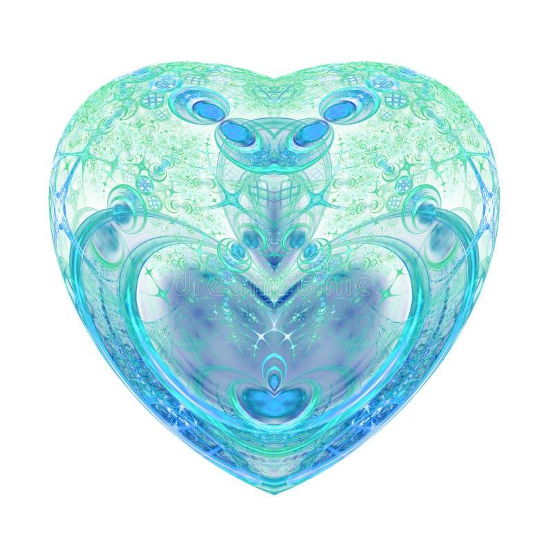 Odosobniony zieleni i błękita fractal serce ilustracja wektor