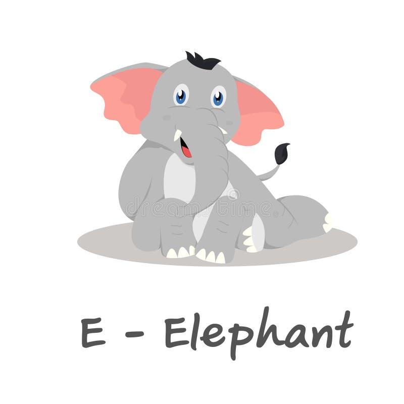 Odosobniony zwierzęcy abecadło dla dzieciaków, E dla słonia ilustracja wektor