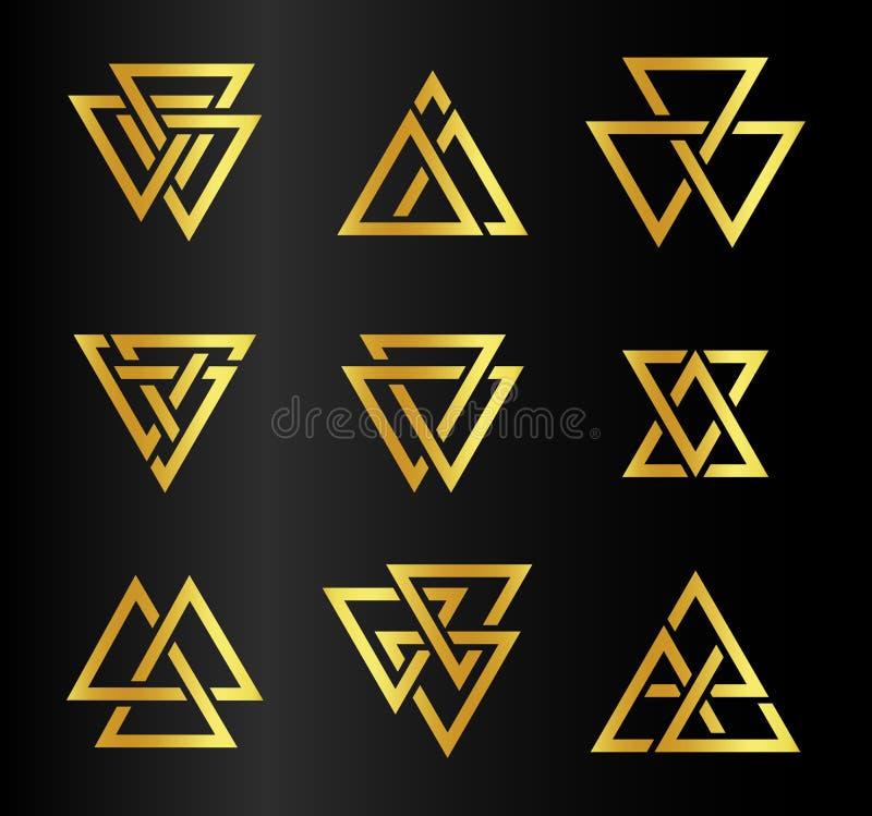 Odosobnionych abstrakcjonistycznych złotych kolorów trójboków konturowy logo ustawiający na czarnym tle, geometryczny trójgranias royalty ilustracja
