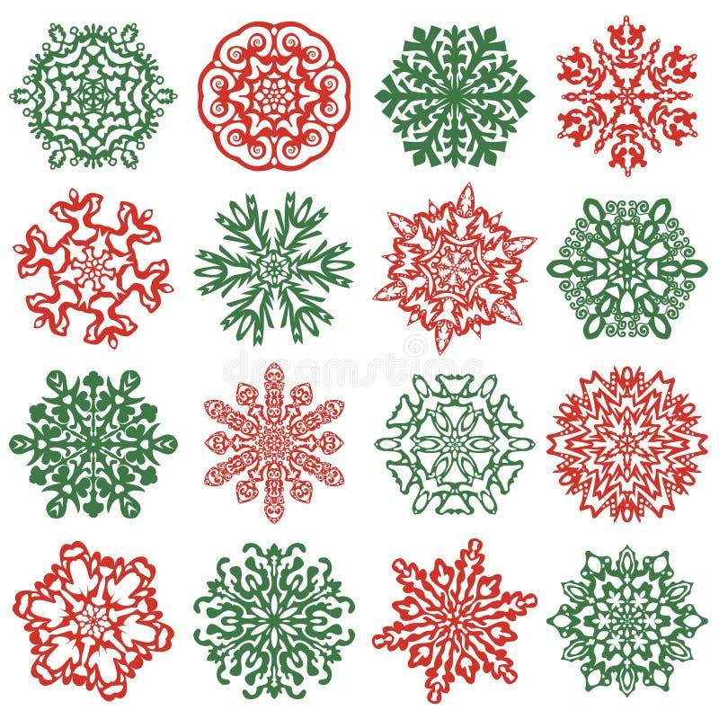 16 odosobnionych płatków śniegu ikon Ręka rysujący wektorowi elementy ilustracji