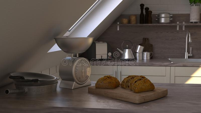 Odpłaca się 3D rówieśnika kuchnia zdjęcie royalty free