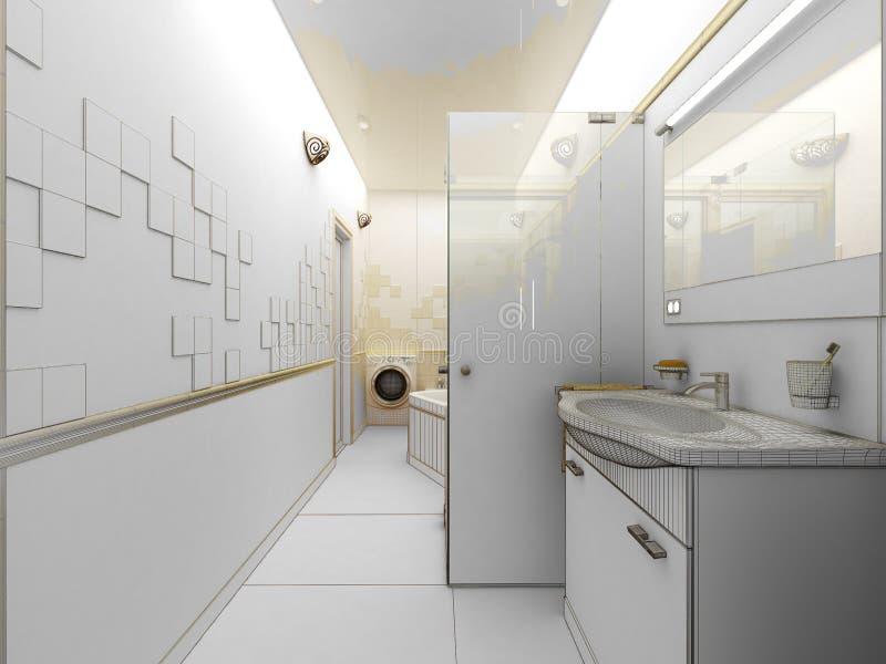 Odpłaca się nowożytnej łazienki wewnętrzny projekt ilustracji