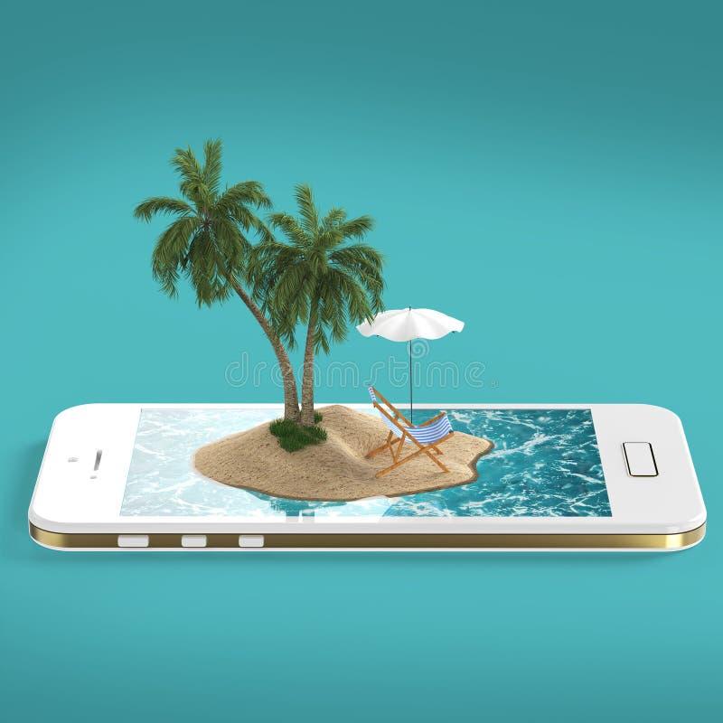 odpłaca się tropikalny wyspa kurort z błękitną ocean wodą, piasek plażą i drzewkami palmowymi na smartphone ekranu podróży dennym royalty ilustracja