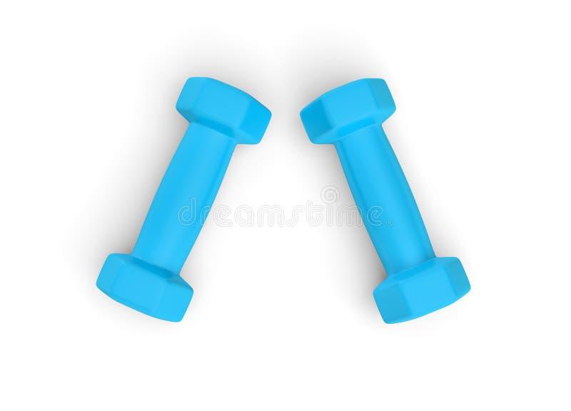 Odpłacający się parę błękitni wagi lekkiej dumbbells odizolowywający na białym tle ilustracji