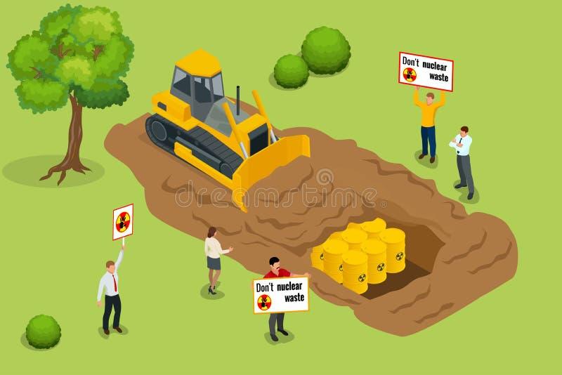 Odpad radioaktywny pojęcie Ludzie protestują zanieczyszczenie środowiska z odpad radioaktywny Płaski 3d wektor isometric ilustracji