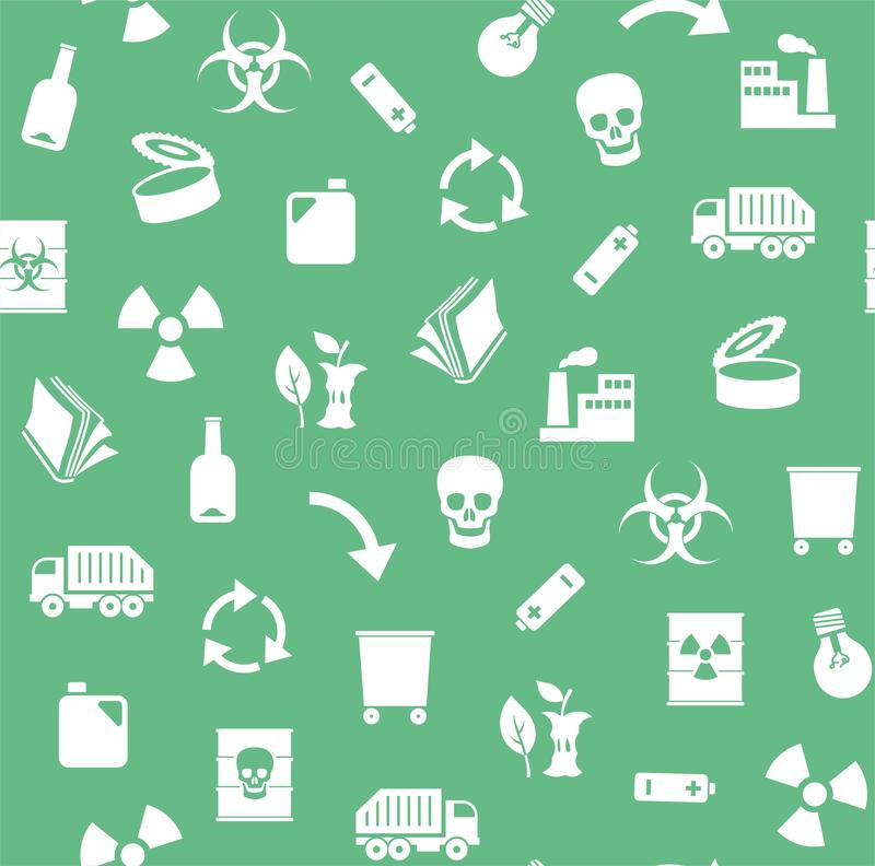 Odpady, przetwarzający, bezszwowy wzór, zieleń, wektor ilustracji