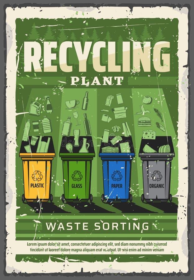 Odpady sortuje i przetwarza, ekologii konserwacja royalty ilustracja
