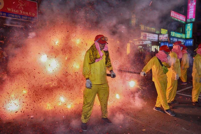 Odparowany faszerujący bunsTaipei Tajwan, Luty, - 19,2019: Ludzie modlą się na dobre szczęście w całym roku wyruszać petar obraz stock