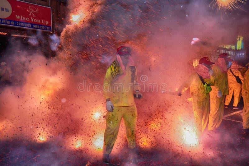 Odparowany faszerujący bunsTaipei Tajwan, Luty, - 19,2019: Ludzie modlą się na dobre szczęście w całym roku wyruszać petar fotografia stock