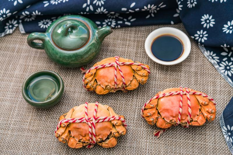 Odparowany krab, delikatność Chongyang festiwal w Chiny obrazy royalty free