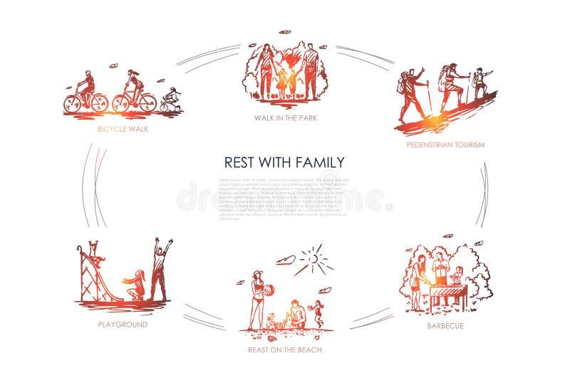 Odpoczynek z rodziną - chodzi w parku, rowerowy spacer, boisko, grill, zwyczajna turystyka, odpoczynek na plażowym wektorowym poj ilustracja wektor