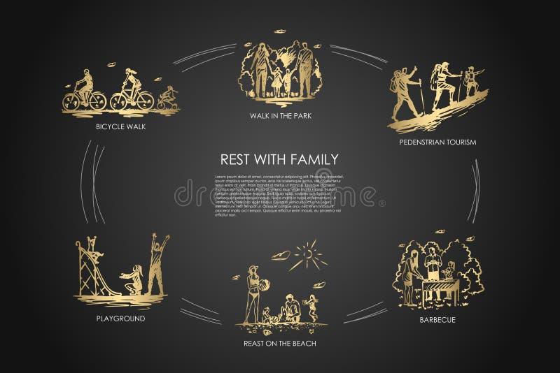 Odpoczynek z rodziną - chodzi w parku, rowerowy spacer, boisko, grill, zwyczajna turystyka, odpoczynek na plażowym wektorowym poj ilustracji