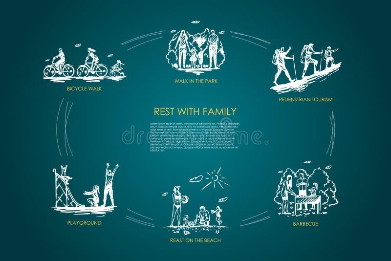 Odpoczynek z rodziną - chodzi w parku, rowerowy spacer, boisko, grill, zwyczajna turystyka, odpoczynek na plażowym wektorowym poj royalty ilustracja