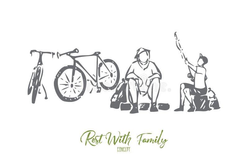 Odpoczynek z rodzinnego pojęcia nakreśleniem Odosobniona wektorowa ilustracja ilustracja wektor