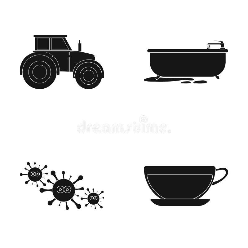 Odpoczywa, pracuje, medycyna i inna sieci ikona w czerń stylu herbata, ciecz, kawowe ikony w ustalonej kolekci royalty ilustracja