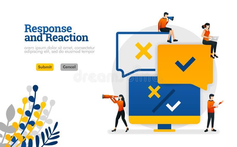 Odpowiedzi i reakcji przerobowy zastosowanie od użytkowników komentarzy dla produktów używa dla, lądujący p wektorowy ilustracyjn royalty ilustracja