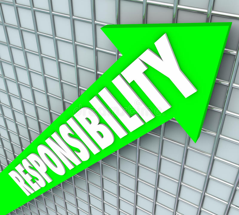 Odpowiedzialności słowa zieleni Strzałkowaty Powstający Akceptuje zobowiązanie Acco royalty ilustracja
