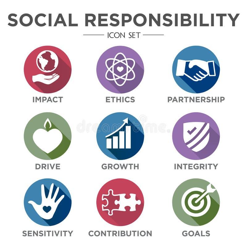 Odpowiedzialności Społecznej ikony Stały set royalty ilustracja