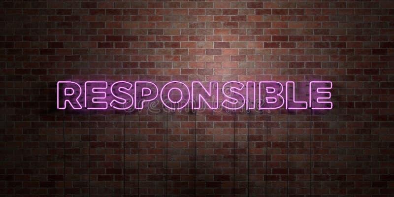 ODPOWIEDZIALNY - fluorescencyjny Neonowej tubki znak na brickwork - Frontowy widok - 3D odpłacający się królewskość bezpłatny akc ilustracji
