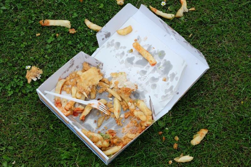 Odrzucająca część jedząca taca fast food obraz royalty free