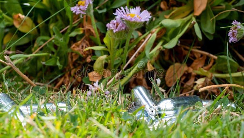 Odrzucający roześmianego gazu kanistery/kremowe ładowarki w trawie: metal buteleczki zawiera azotawego tlenku gaz, używać jako le fotografia stock