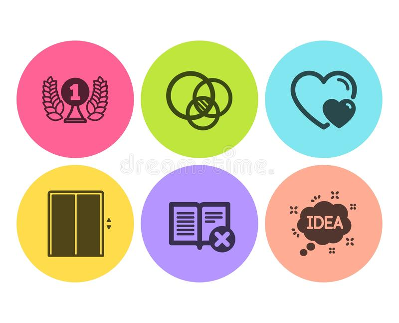 Odrzutu książka, dźwignięcie i laureat, nagradzamy ikony ustawiać Euler diagram, znaki, serc i pomysłu Deleatur artykuł, winda we ilustracja wektor