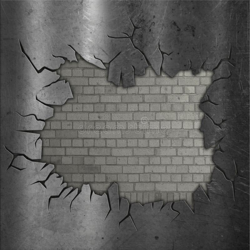 Odsłonięty ściana z cegieł z krakingowym metalem ilustracja wektor
