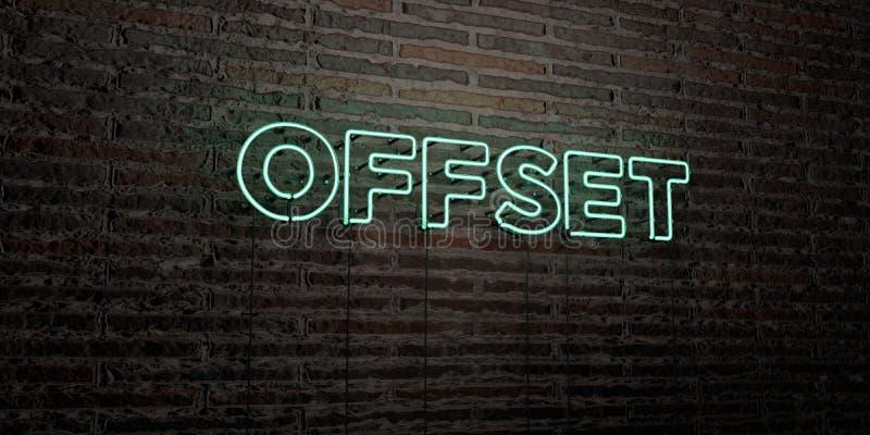 ODSADZKA - Realistyczny Neonowy znak na ściana z cegieł tle - 3D odpłacający się królewskość bezpłatny akcyjny wizerunek royalty ilustracja