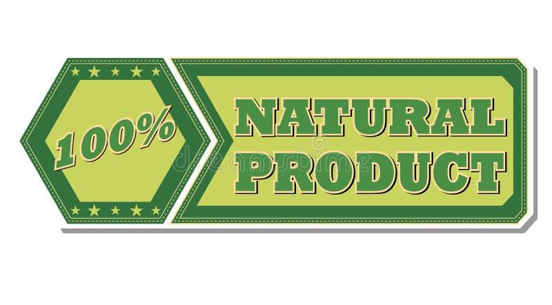 100 odsetków naturalnego produktu - retro zielona etykietka ilustracji