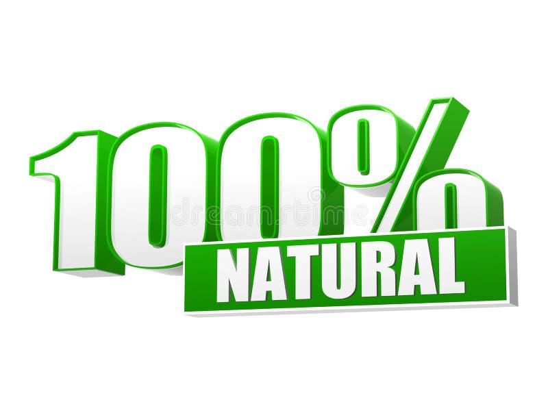 100 odsetków naturalnych w 3d listach i bloku ilustracja wektor