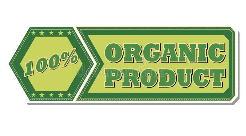 100 odsetków organicznie produktu - retro zielona etykietka ilustracji