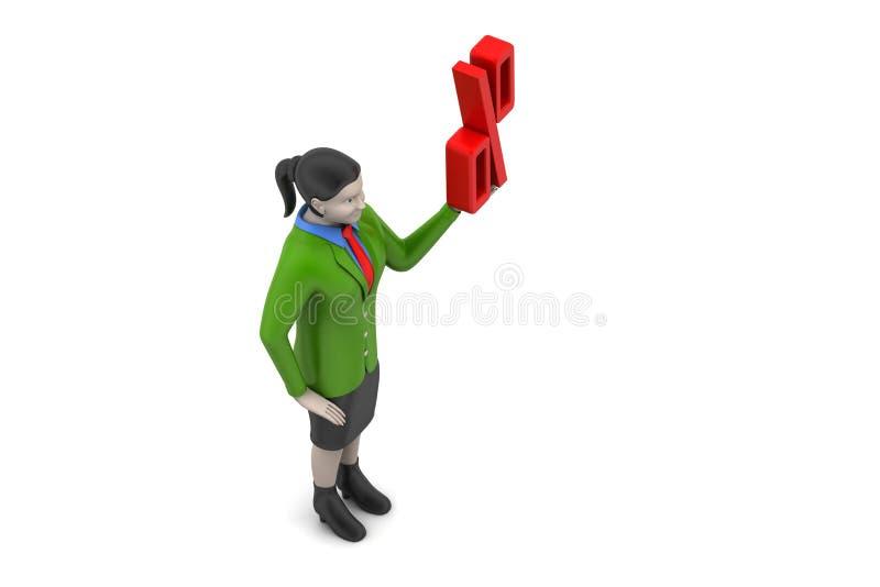 Download Odsetka znak z kobietą zdjęcie stock. Obraz złożonej z dochodowość - 53778448