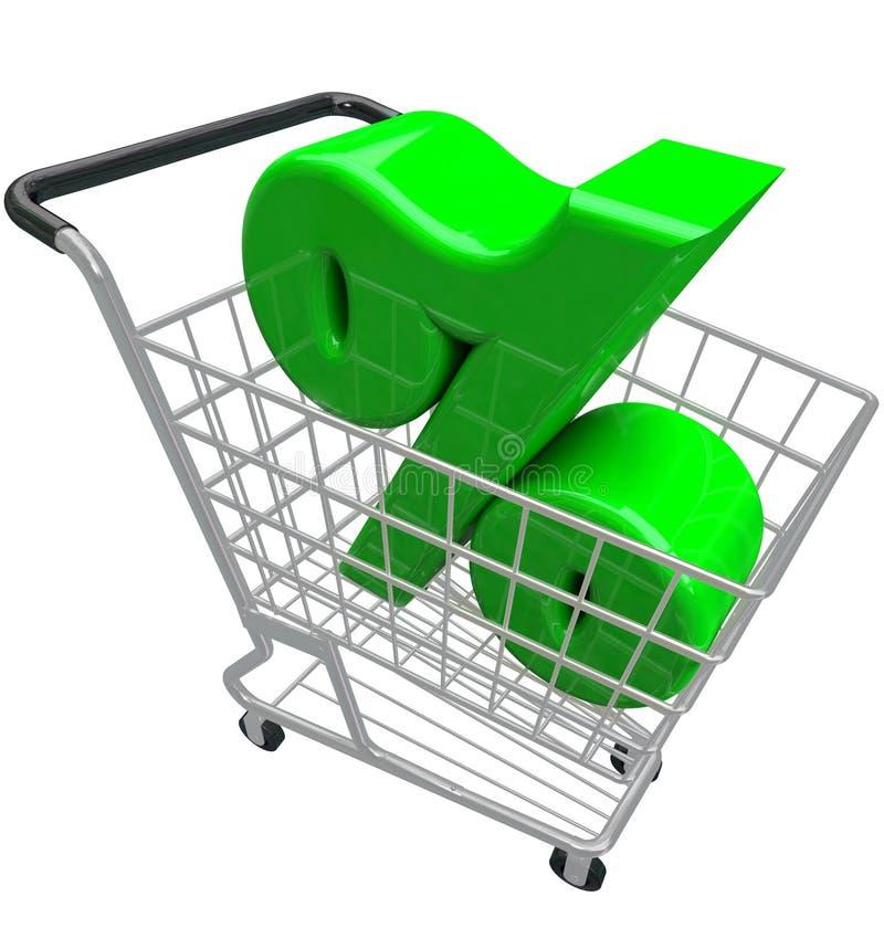 Odsetka znaka wózek na zakupy procentu inflaci stopa procentowa royalty ilustracja