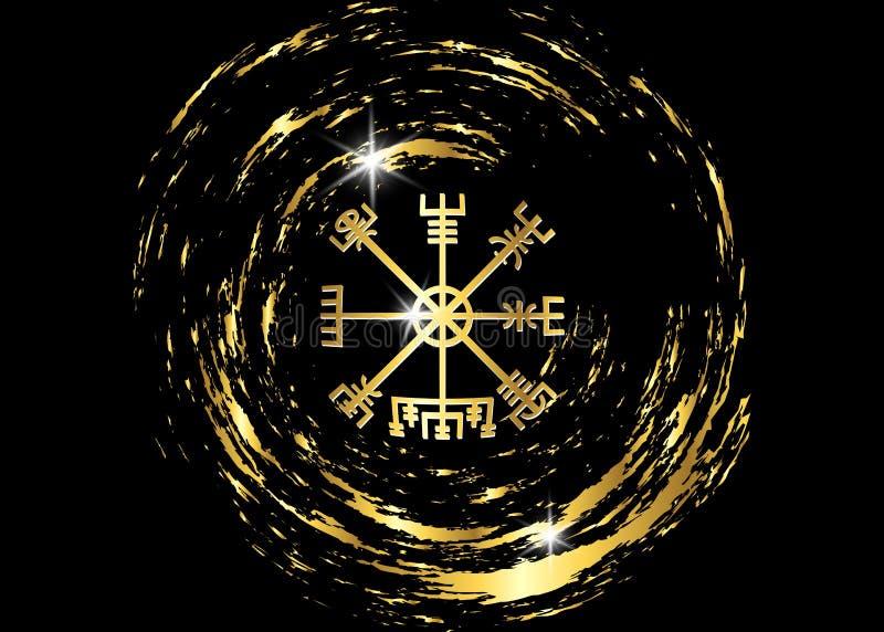 Odszyfrowywać antycznego symboli/lów wikingowie Vegvisir Viking Złoty kompas Wikingowie używał wiele symbole ilustracji