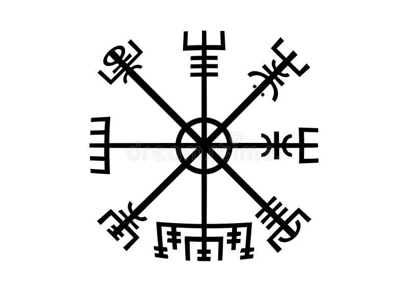 Odszyfrowywać antycznego symboli/lów wikingowie Vegvisir Viking kompas Wikingowie używał wiele symbole w prawidłowości Nordycki W ilustracji