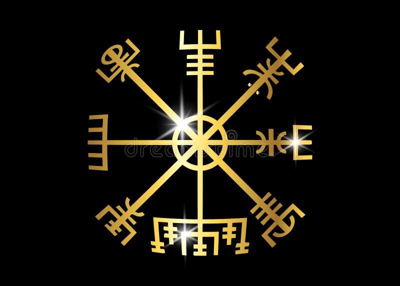 Odszyfrowywać antycznego symboli/lów wikingowie Vegvisir Viking Złoty kompas Wikingowie używał wiele symbole royalty ilustracja
