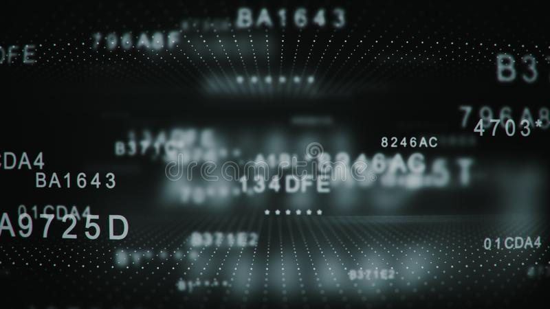 Odszyfrowywać utajnionego cyfrowego heksadecymalnego dane kod ilustracja wektor