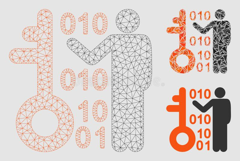 Odszyfrowywa Kluczowej Wektorowej siatki trójboka i modela mozaiki 2D ikonę ilustracja wektor